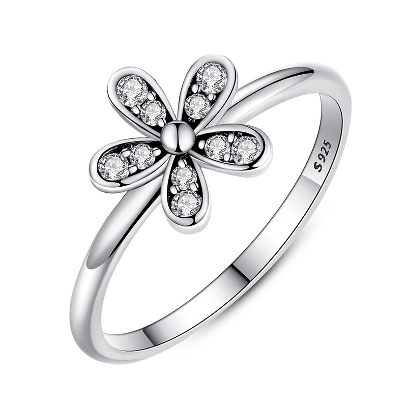 925-Sterling-Silver-Dazzling-Daisy-Meadow-Stackable-Ring-With-AAA-Clear-CZ-For-Women-Compatible-with