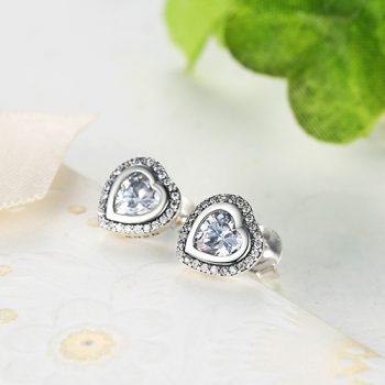 925 Sterling Silver Love Heart Shape Stud Earrings for Women Clear Cubic Zirconia