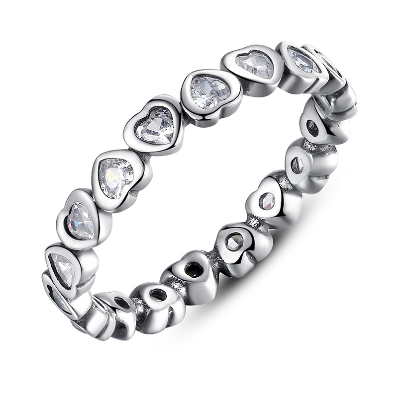Authentic-100-925-Sterling-Silver-Love-Heart-Forever-More-Stackable-Ring-Clear-CZ-Compatible-With-Jewelry