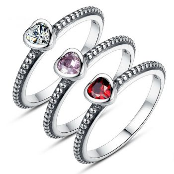 3 Colors Authentic 100% 925 Sterling Silver Ring Love Heart Ring
